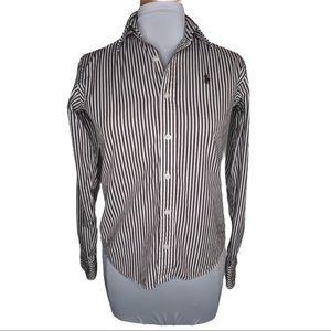Ralph Lauren Blue Label Brown White Stripe Button Up Shirt